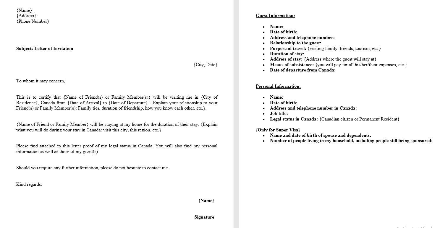 invitation letter for Canada visa